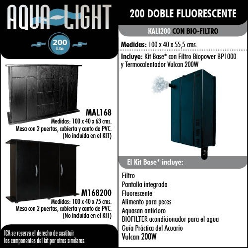 AQUA-LIGHT 200 Lts. Doble fluorescente